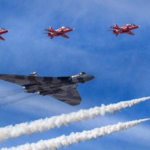 Vulcan escorted by the Red Arrows by Lesley Davidson Score: 18