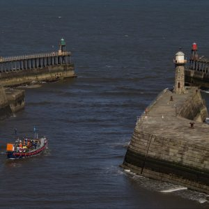 Sailing Out of Whitby Harbour by Lesley Davidson, C Landscape DPI