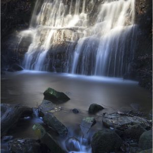 Sunlight on Tiger's Clough Waterfall, Rivington by Lesley Davidson, Open Colour, HC